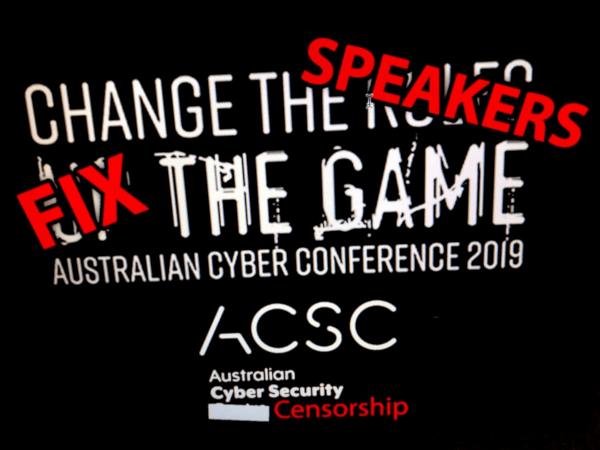 After banning working cryptography and raiding whistleblowers, Australia's spies ban speakers from national infosec conference