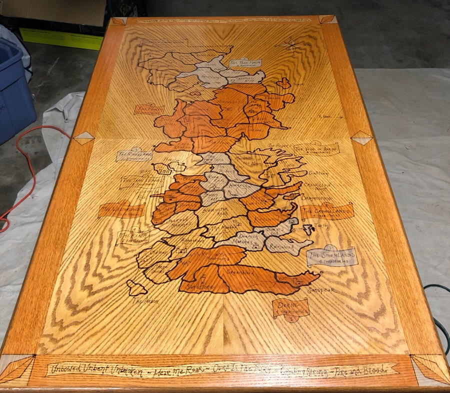 Game of Thrones 'Risk' board from a $20 used wood table