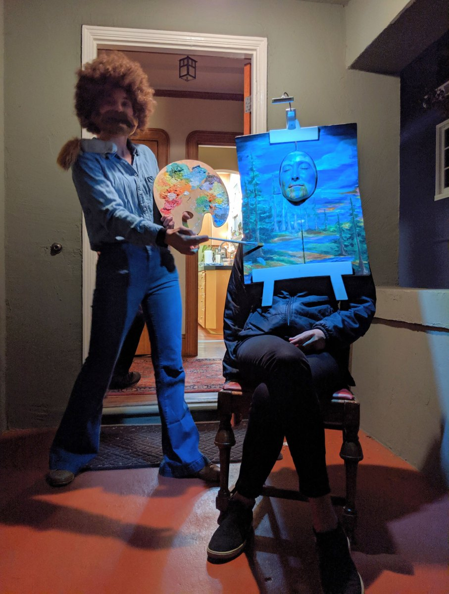 Bob Ross couple's costume and other Halloween night surprises in my neighborhood