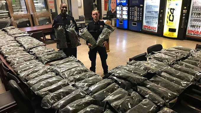 NYPD proudly stages seizure of 106 pounds of legal hemp