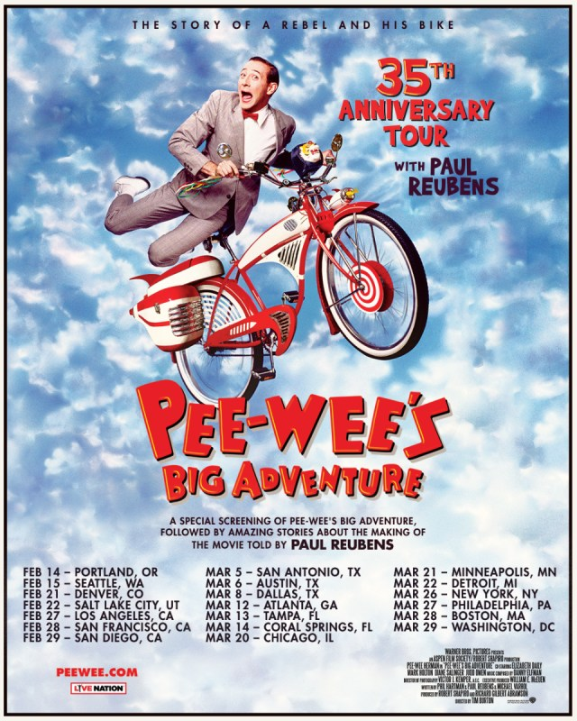 Paul Reubens going on 20-city tour for Pee-wee's Big Adventure's 35th