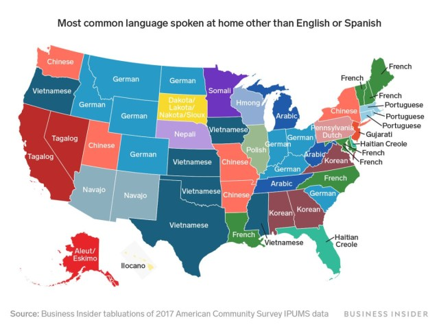 A fascinating map of the most spoken languages in every US state besides English and Spanish