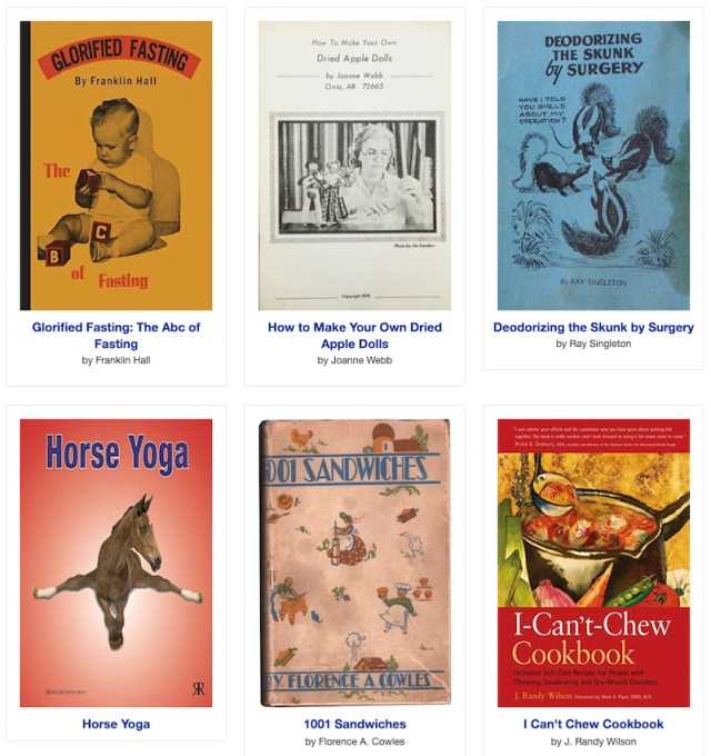 Horse Yoga, All About Pockets, How God Gives Us Ice Cream, and a slew of other weird books
