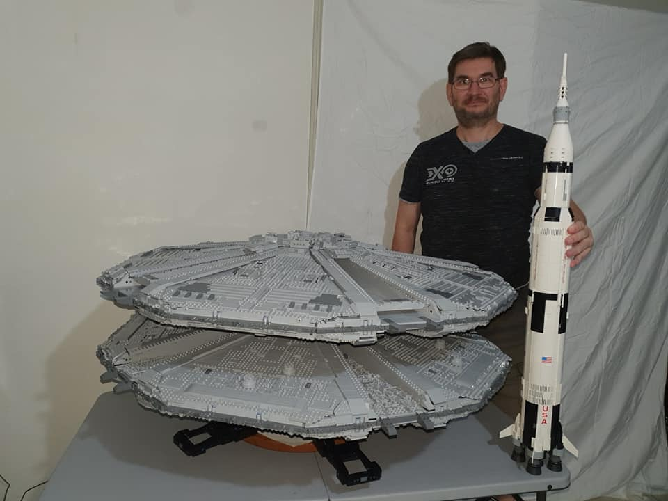 This guy built a huge LEGO Cylon Basestar AND a Saturn V rocket