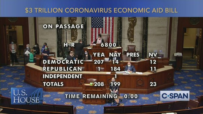 House passes $3T coronavirus relief act led by Pelosi & Dems ...