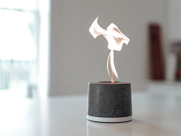The FLIKR Fire2 is a personal fireplace that goes anywhere and burns on simple rubbing alcohol