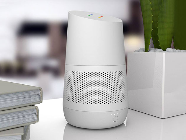 The LOFT Battery Base helps your Google Home go truly mobile