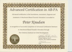 Advance Certification in Foundation,assessment,diagnosis and treatment. Attachment Based Parental Alienation. EU