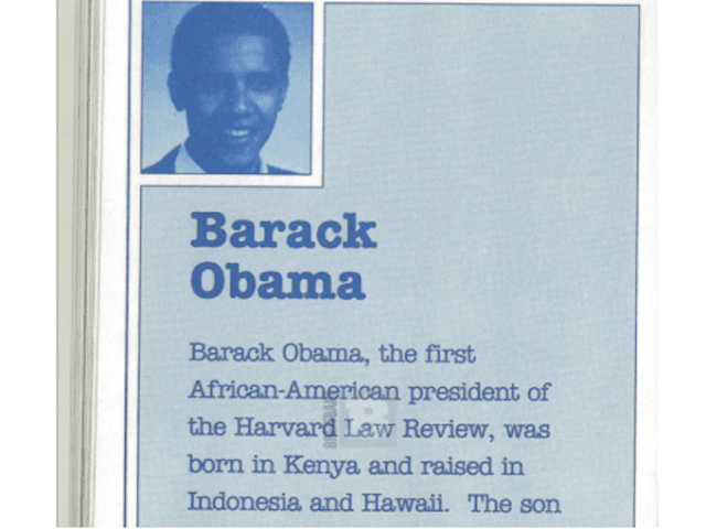 Barack Obama literary pamphlet, 1991 (Joel Pollak / Breitbart News)