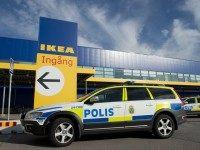 Police cars are parked outside IKEA store in the city of Vaesteraas, about 100 km west of Stockholm on August 10, 2015. Two people were stabbed to death at the Ikea store in Vasteras and a third person was wounded, police said. AFP PHOTO/JONATHAN NACKSTRAND (Photo credit should read JONATHAN NACKSTRAND/AFP/Getty Images)