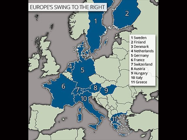 Map  Populist Right wing Explodes Across Europe in Response to     EU FarRight Parties Express