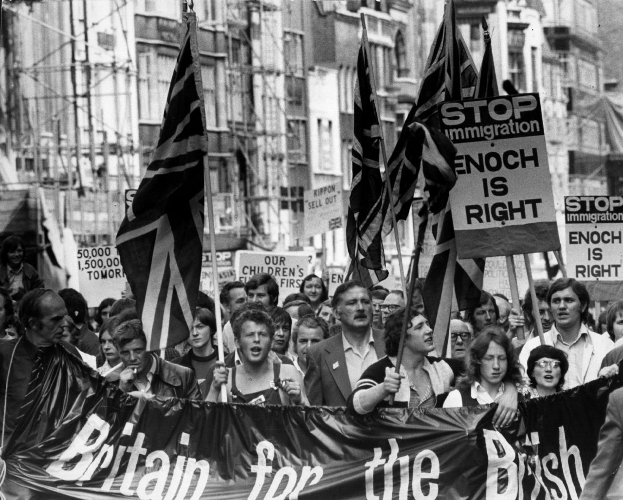 circa 1972: An anti-Asian demonstration in favour of Enoch Powell.   (Photo by Evening Standard/Getty Images)