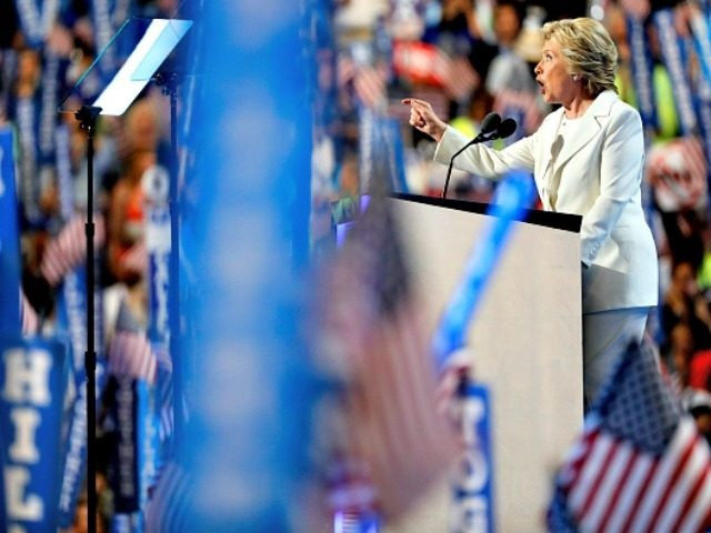 PHILADELPHIA, PA - JULY 28: on the fourth day of the Democratic National Convention at the Wells Fargo Center, July 28, 2016 in Philadelphia, Pennsylvania. Democratic presidential candidate Hillary Clinton received the number of votes needed to secure the party's nomination. An estimated 50,000 people are expected in Philadelphia, including hundreds of protesters and members of the media. The four-day Democratic National Convention kicked off July 25. (Photo by Aaron P. Bernstein/Getty Images)
