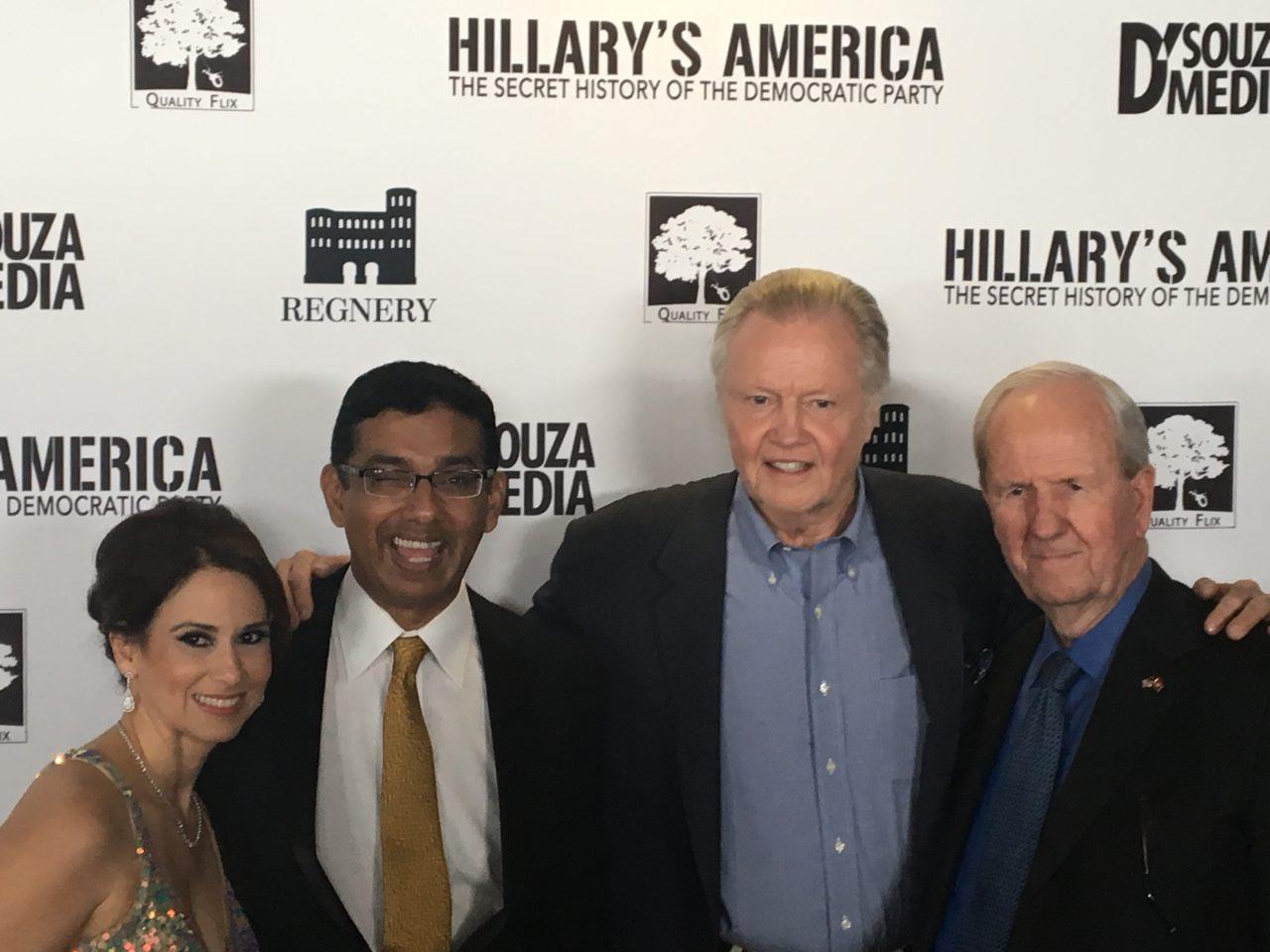 L-R: Debbie D'Souza, Dinesh D'Souza, Jon Voight, producer Gerald R. Molen