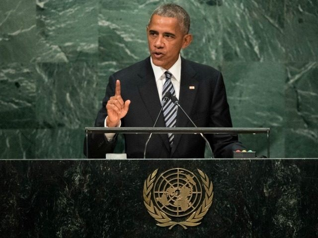 President Barack Obama addresses the United Nations General Assembly at UN headquarters, September 20, 2016 in New York City.