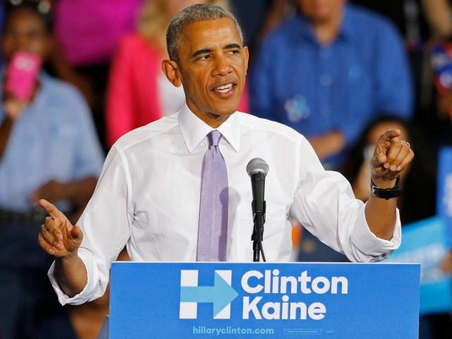 President Barack Obama speaks at a campaign event for Democratic presidential candidate Hillary Clinton at Florida Memorial University on October 20, 2016 in Miami Gardens, Florida. Obamas campaign stop was previously scheduled for earlier this month but was postponed due to Hurricane Matthew. (Photo by