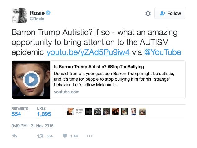 Image result for @ROSIE BARRON TRUMP AUTISTIC tweet