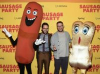 "Actor Paul Rudd and writer Seth Rogen attend the premiere of ""Sausage Party"" at Sunshine Landmark on August 4, 2016 in New York City"
