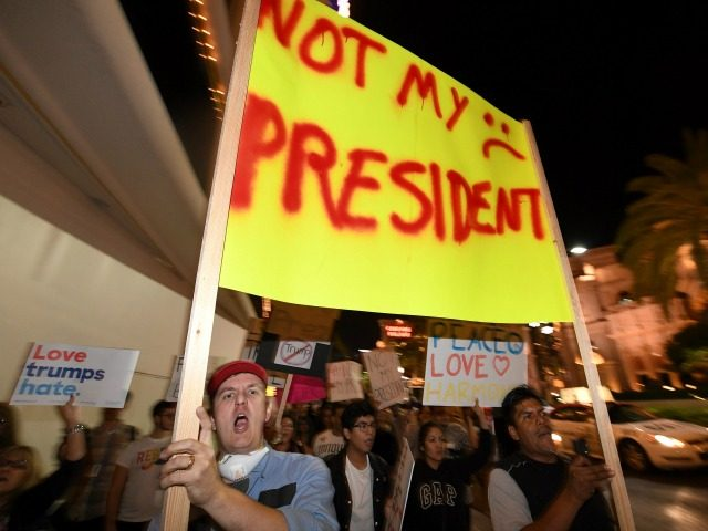 Anti-Donald Trump protesters march on the Las Vegas Strip on November 12, 2016 in Las Vegas, Nevada. The election of Trump as president has sparked protests in cities across the country. (Photo by Ethan Miller/Getty Images)