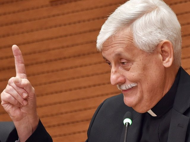 New general of the Society of Jesus, Father Arturo Sosa, gives a press conference at the General Curia of the Society of Jesus, on October 18, 2016 in Rome. / AFP / ANDREAS SOLARO        (Photo credit should read ANDREAS SOLARO/AFP/Getty Images)