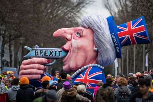 DUSSELDORF, GERMANY - FEBRUARY 27: A float featuring British Premier Theresa May drives in the annual Rose Monday parade on February 27, 2017 in Dusseldorf, Germany. Political satire is a traditional cornerstone of the annual parades and the ascension of Trump to the U.S. presidency, the rise of the populist far-right across Europe and the upcoming national elections in Germany provided rich fodder for float designers this year. (Photo by Lukas Schulze/Getty Images)