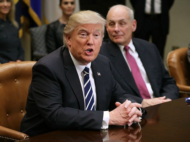 WASHINGTON, DC - JANUARY 31: U.S. President Donald Trump delivers remarks at the beginning of a meeting with Homeland Security Secretary John Kelly and other government cyber security experts in the Roosevelt Room at the White House January 31, 2017 in Washington, DC. Citing the hack of computers at the Democratic National Committee by Russia, Trump said that the private and public sectors must do more to prevent and protect against cyber attacks. (Photo by Chip Somodevilla/Getty Images)