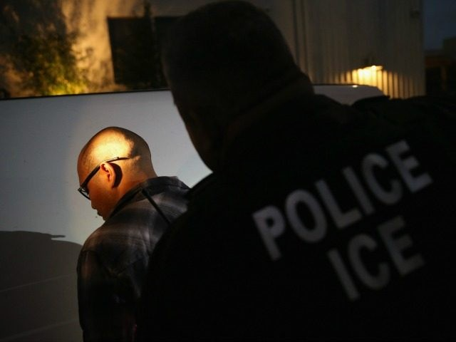 A man is detained by Immigration and Customs Enforcement (ICE), agents early on October 14, 2015 in Los Angeles, California. ICE agents said the undocumented immigrant was a convicted criminal and gang member who had previously been deported to Mexico and would be again. ICE builds deportation cases against thousands of undocumented immigrants, most of whom, they say, have criminal records. The number of ICE detentions and deportations from California has dropped since the state passed the Trust Act in October 2013, which set limits on California law enforcement cooperation with federal immigration authorities. (Photo by John Moore/Getty Images)