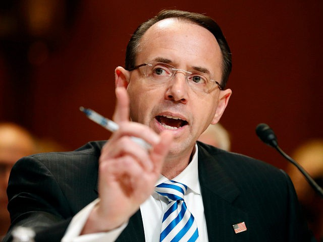 FILE - In this June 13, 2017 file photo, Deputy Attorney General Rod Rosenstein testifies on Capitol Hill in Washington. President Donald Trump confirmed Friday, June 16, 2017, he was under investigation and appeared to take aim at a senior Justice Department official, in a tweet that seemed to encapsulate his frustration with the ongoing focus on Russia's involvement in the 2016 election. (AP Photo/Alex Brandon, File)