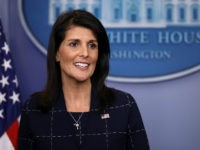 WASHINGTON, DC - APRIL 24: U.S. Ambassador to the United Nations Nikki Haley talks with reporters during the daily press briefing at the White House April 24, 2017 in Washington, DC. Haley briefed reporters about the meetings between U.S. President Donald Trump and the ambassadors representing the permanent members of the United Nations Security Council. (Photo by Chip Somodevilla/Getty Images)
