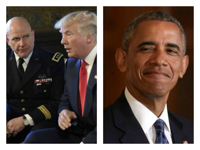 McMaster with Trump (AP Photo/Susan Walsh) and Obama with grin (Chip Somodevilla/Getty) collage.