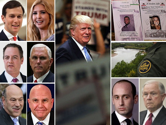 """President Donald Trump and warring White House factions on immigration policy: Jared Kushner, Ivanka Trump, Reince Priebus, Mike Pence, Gary Cohn, and H.R. McMaster vs. Stephen Miller, Jeff Sessions, border patrol agents, and """"Angel"""" families who have lost loved ones murdered by illegal immigrants."""