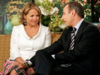 """Matt Lauer says his farewell to Katie Couric, his exiting co-host of the NBC """"Today"""" television program in the studio, Wednesday May 31, 2006. With Lauer bringing the tissues, the """"Today"""" show threw a going-away party Wednesday for 15-year host Katie Couric, who is leaving to become the next anchor of the """"CBS Evening News."""" (AP Photo/Richard Drew)"""