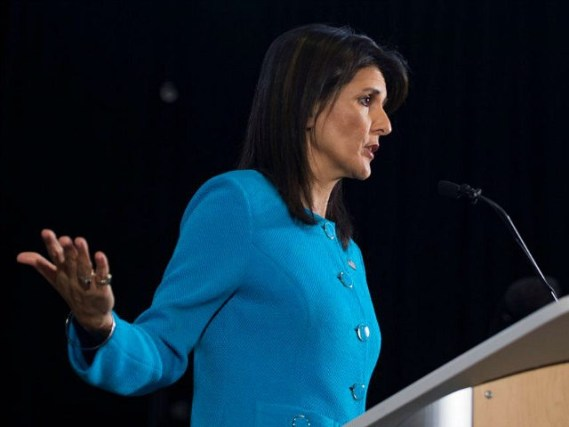 US Ambassador to the United Nations Nikki Haley unveils previously classified information intending to prove Iran violated UNSCR 2231 by providing the Houthi rebels in Yemen with arms during a press conference at Joint Base Anacostia in Washington, DC, on December 14, 2017. Haley said Thursday that a missile fired by Huthi militants at Saudi Arabia last month had been made in Iran. 'It was made in Iran then sent to Huthi militants in Yemen,' Haley said of the missile. / AFP PHOTO / JIM WATSON (Photo credit should read JIM WATSON/AFP/Getty Images)