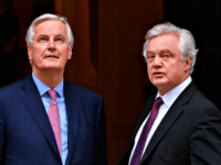 LONDON, ENGLAND - FEBRUARY 05: European Chief Negotiator for the United Kingdom Exiting the European Union Michel Barnier (L) and Brexit Secretary David Davis walk in Downing Street ahead of a meeting on February 5, 2018 in London, England. Following claims of disunity within the Government, Prime Minister Theresa May has insisted Britain will leave the customs union after Brexit. (Photo by Leon Neal/Getty Images)