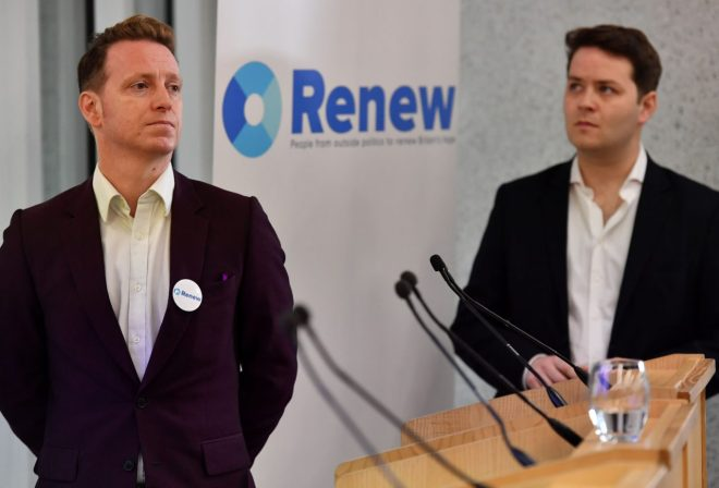 Renew Party's Head of Outreach, James Clarke (L), and Head of Strategy, James Torrance (R), attend the anti-Brexit political party's launch in London on February 19, 2018.