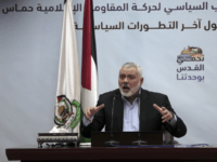 """Palestinian Hamas top leader Ismail Haniyeh, gives a speech during a press conference in his office in Gaza City, Tuesday, Jan. 23, 2018. Haniyeh says that U.S. Vice President Mike Pence's tour in Israel was """"unwelcome,"""" adding that his speech before the Israeli parliament a day earlier """"proves the USA has a strategic alliance with the Zionist entity."""" (AP Photo/ Khalil Hamra)"""