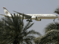 n this Sunday, May 4, 2014 photo, an Etihad Airways plane prepares to land in Abu Dhabi Airport, United Arab Emirates. Fast-growing Gulf carrier Etihad Airways says it and Alitalia have reached a deal in principle for the United Arab Emirates-based airline to buy a 49 percent stake in the struggling Italian airline. (AP Photo/Kamran Jebreili)