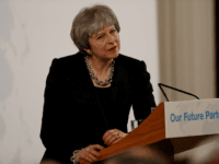 British Prime Minister Theresa May gives a speech on Brexit at Mansion House in London on March 2, 2018. Prime Minister Theresa May will call today for an unprecedented free trade deal with the EU after Brexit in a major speech, but is expected to acknowledge that Britain will have to make sacrifices in its economic relationship. / AFP PHOTO / POOL / PETER NICHOLLS (Photo credit should read PETER NICHOLLS/AFP/Getty Images)