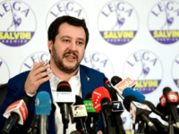 Lega far right party leader Matteo Salvini gestures during a press conference held at the Lega headquarter in Milan on March 5, 2018 ahead of the Italy's general election results. A surge for populist and far-right parties in Italy's weekend election could result in a hung parliament with a right-wing alliance likely to win the most votes but no majority, AFP reports. / AFP PHOTO / Piero CRUCIATTI (Photo credit should read PIERO CRUCIATTI/AFP/Getty Images)