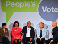 (L-R) British politicians, Green MP Caroline Lucas, Liberal Democrat MP Layla Moran, Labour Party MP Chuka Umunna and Conservative MP Anna Soubry share the stage with comedian Andy Parsons during a launch event for the Peoples Vote campaign in London on April 15, 2018 calling for a referendum on the final Brexit deal. A new cross-party campaign for a referendum on Britain's EU departure deal launched on April 15, insisting the British public -- and not just politicians -- should be given a say. / AFP PHOTO / Ben STANSALL (Photo credit should read BEN STANSALL/AFP/Getty Images)