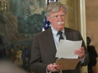 "National Security Advisor John Bolton, pictured on April 13, 2018, said President Donald Trump ""has made no decision on the nuclear deal"" with Iran"
