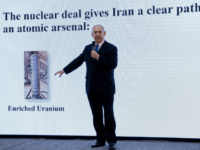 Israeli Prime Minister Benjamin Netanyahu presents material on Iranian nuclear weapons development during a press conference in Tel Aviv, Monday, April 30 2018. Netanyahu says his government has obtained