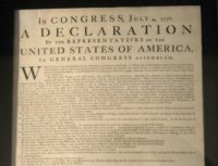 An original copy of the US Declaration of Independence from 1776 on display in Philadelphia