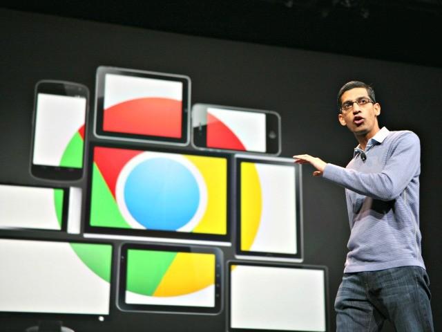 Sundar Pichai, senior vice president of Chrome, speaks at Google's annual developer conference, Google I/O, in San Francisco on 28 June 2012