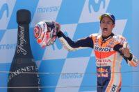 Marc Marquez celebrates in Aragon