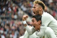 Angel Di Maria and Neymar celebrate the PSG equaliser