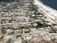 An aerial view of the devastation caused by Hurricane Michael in the town of Mexico Beach