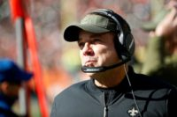 New Orleans Saints coach Sean Payton on the sidelines Sunday at Cincinnati after shattering a blaring fire alarm in the locker room before the game