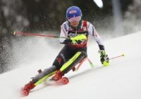 American skier Shiffrin takes big 1st-run lead in slalom