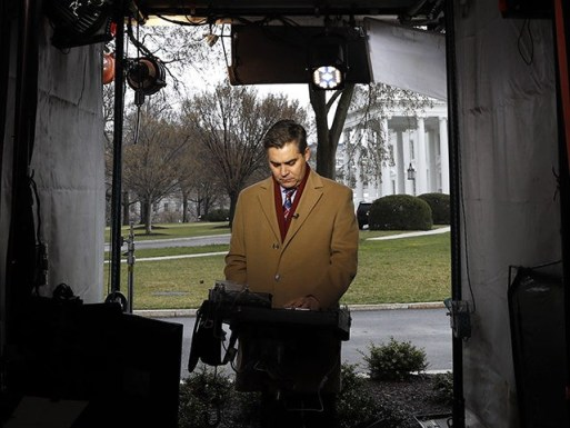 CNN's Jim Acosta waits to make a report with the White House in the background, Friday March 22, 2019, in Washington, as news breaks that the special counsel Robert Mueller has concluded his investigation into Russian election interference and possible coordination with associates of President Donald Trump. The Justice Department …